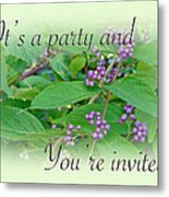 Party Invitation - General - American Beautyberry Shrub Metal Print by Mother Nature