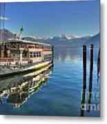 Passenger Ship Reflected On The Water Metal Print