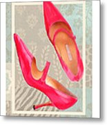 Passion Pink Strapped Pumps Metal Print