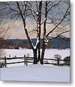 Pastoral View Of A Farm Covered In Snow Metal Print