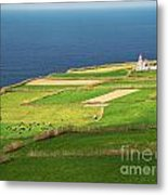 Pastures And Lighthouse Metal Print