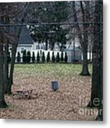 Patio View Of An Autumn Day Metal Print