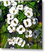 Pattern In Green And White Metal Print