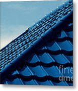 Pattern Of Blue Roof Tiles Metal Print