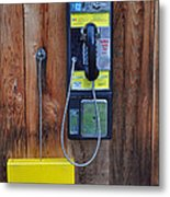 Pay Phone And Book Wooden And Yellow Metal Print