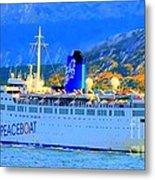 Peace Boat Along South America Coastline Metal Print