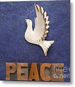 Peace Word With Dove Metal Print