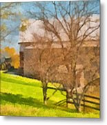 Peaceful Farm In Autumn Metal Print