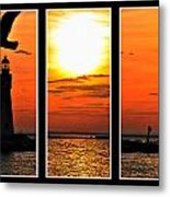 Peaceful Sunset Triptych Series Metal Print