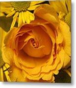 Peach Rose-yellow Daisies Metal Print