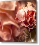 Peach Roses And Ribbons Metal Print by Svetlana Sewell
