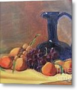 Peaches And Blue Pitcher Metal Print
