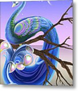 Peacock Moon Metal Print