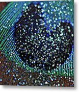 Peacock With Bling Metal Print
