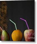 Pear And Apple And Orange Metal Print