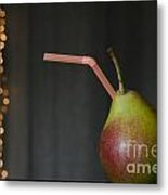 Pear With Straw Metal Print