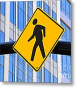 Pedestrian Crosswalk Sign In Business District Metal Print by Gary Whitton