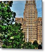 Pedestrian View Of City Hall Vert Metal Print