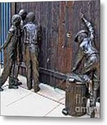 Peeking At Baseball Game Sculpture Metal Print