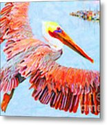 Pelican Flying Back To The Docks Metal Print