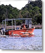 Pelicans Following Boat Metal Print