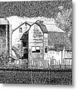 Pencil Sketch Barn Metal Print