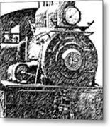 Pencil Sketch Locomotive Metal Print