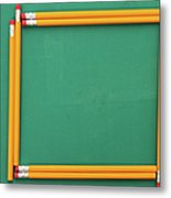 Pencils Framing An Area Of Chalkboard Metal Print