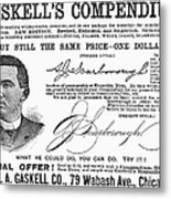 Penmanship Ad, 1887 Metal Print