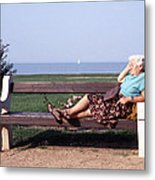 Pensioner Relaxing On A Bench Metal Print