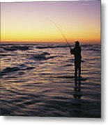People Are Surf Fishing For Red Drum Metal Print