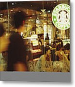 People At One Of The First Starbucks Metal Print