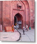 People Entering The Entrance Gate To The Red Colored Red Fort In New Delhi In India Metal Print