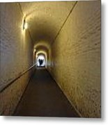 People Starting To Walk Down A Tunnel In Dover Castle Metal Print