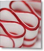 Peppermint Christmas Ribbons Metal Print