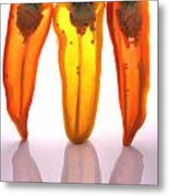 Peppers In Half Metal Print