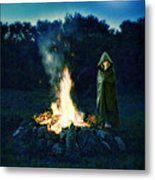 Person Standing By A Bonfire In The Moonlight Metal Print