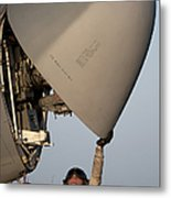 Petty Officer Inspects The Radar Of An Metal Print