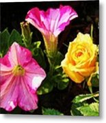 Petunias With A Rosy Neighbor Metal Print