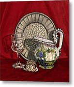 Pewter Dish With Red Cloth. Metal Print by Raffaella Lunelli