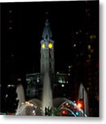 Philadelphia City Hall And Swann Fountain At Night Metal Print