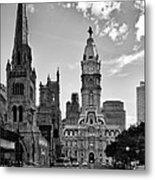 Philadelphia City Hall Bw Metal Print