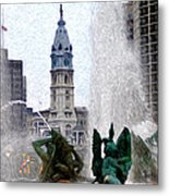 Philadelphia Fountain Metal Print