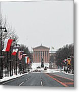 Philadelphia Parkway In The Snow Metal Print
