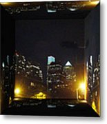 Philadelphia Skyline At Night - Mirror Box Metal Print