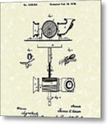 Phonograph 1878 Patent Art  Metal Print by Prior Art Design