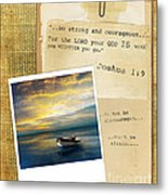 Photo Of Boat On The Sea With Bible Verse Metal Print