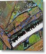 Piano Aqua Wall - Cropped Metal Print by Anita Burgermeister