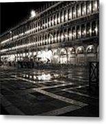 Piazza San Marco At Night Venice Metal Print