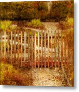 Picket Fence And Cottage Metal Print